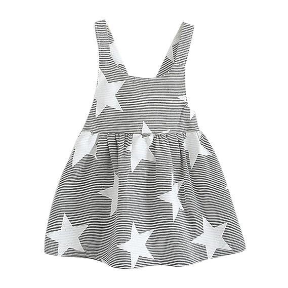 Niñas Verano 2018, Zolimx Niñas Vestidos Sin Mangas Patrón de Estrellas Verano Ropa Para 1