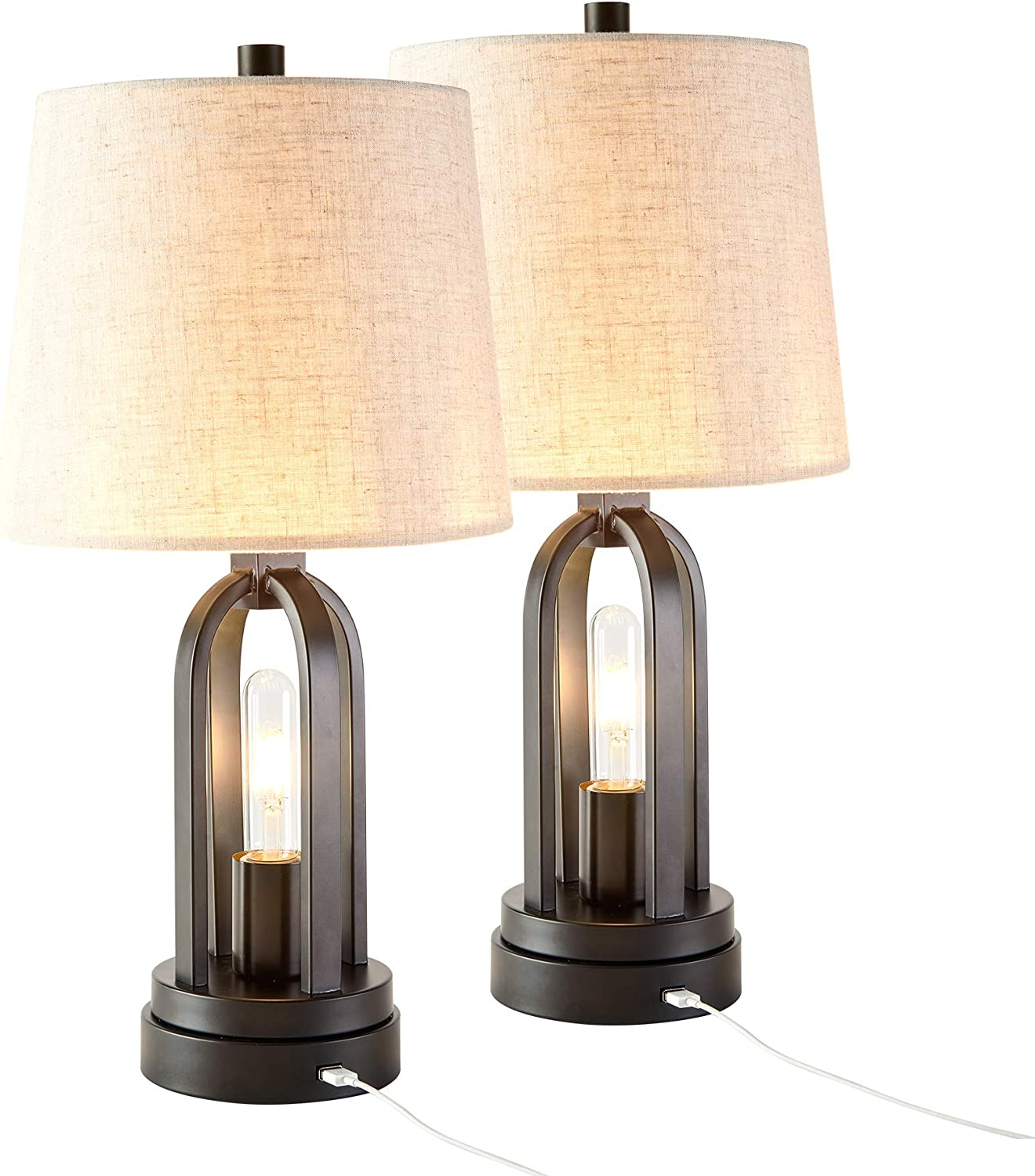 CO-Z Farmhouse Table Lamps Set of 2 with USB Port, Industrial Table Lamps with LED Edison Nightlight, Rustic Table Lamps Black for Living Room, Bedroom, Nightstand.