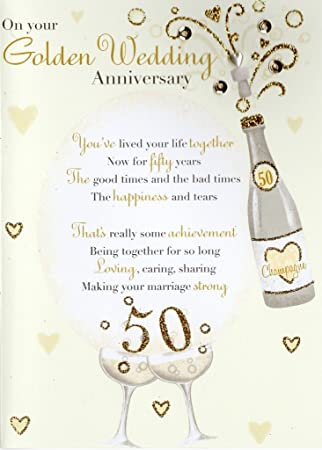 Amazon second nature golden 50th anniversary greeting card second nature golden 50th anniversary greeting card poetic words cards m4hsunfo
