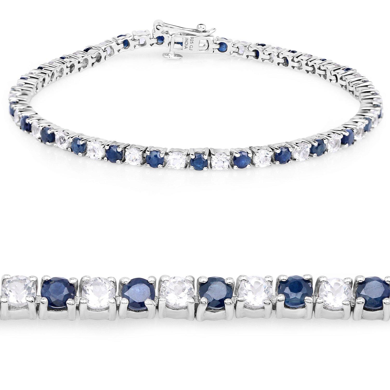 Genuine Blue Sapphire and White Topaz .925 Sterling Silver Tennis Bracelet