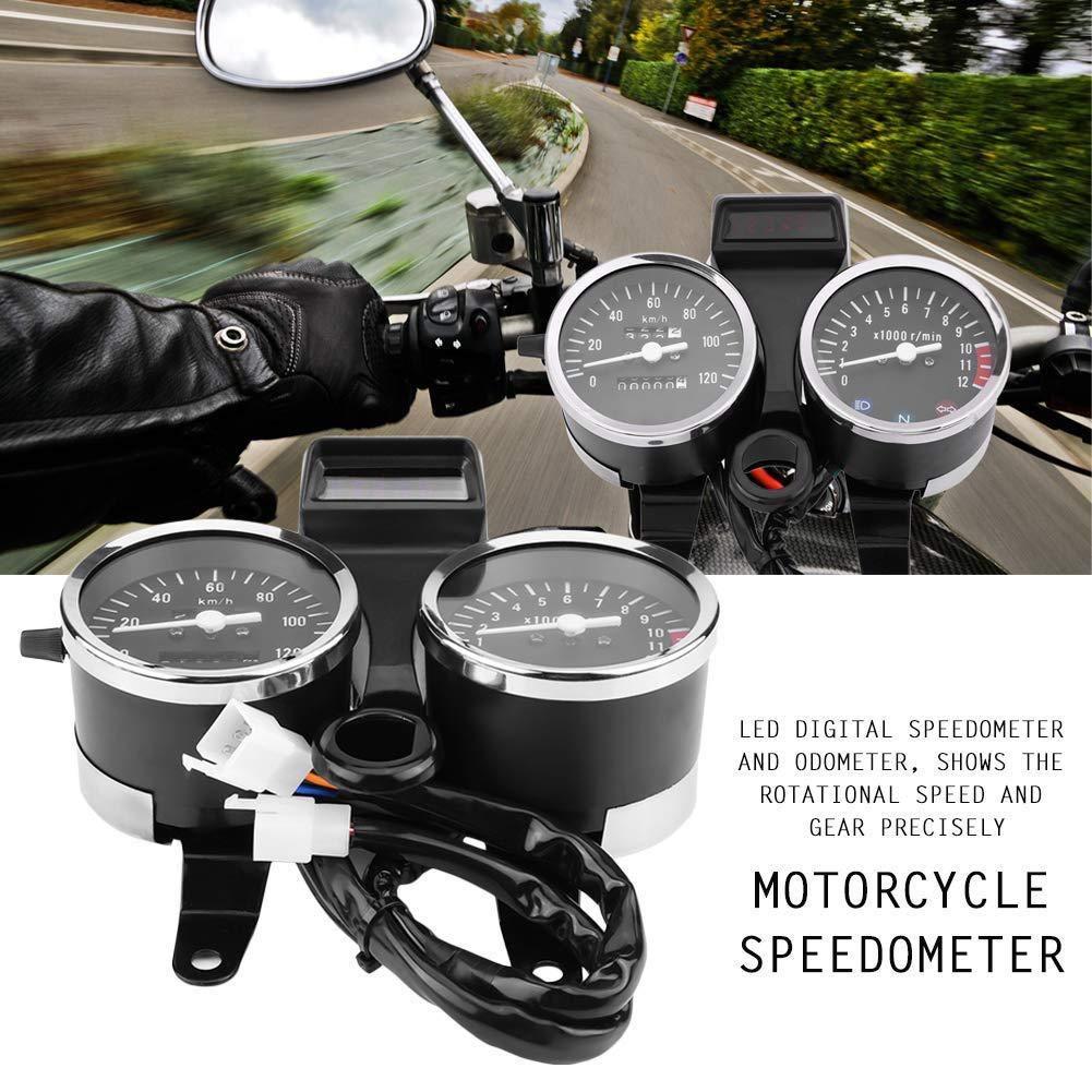 Motorcycle Gauge Meter For GN125 Motorcycle Speedmeter Odometer Tachometer Dual digital LED instrument,Motorcycle Tachometer Assembly