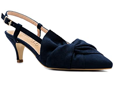 c6f130568e3 Greatonu Womens Blue Comfy Leather Insole Pointy Toe Hitten Heel Bow Tie  Slingback Court Shoes Size