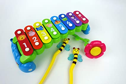 Musical Toys For Toddlers : Amazon.com: nbd rainbow garden 8 note xylophone with music and