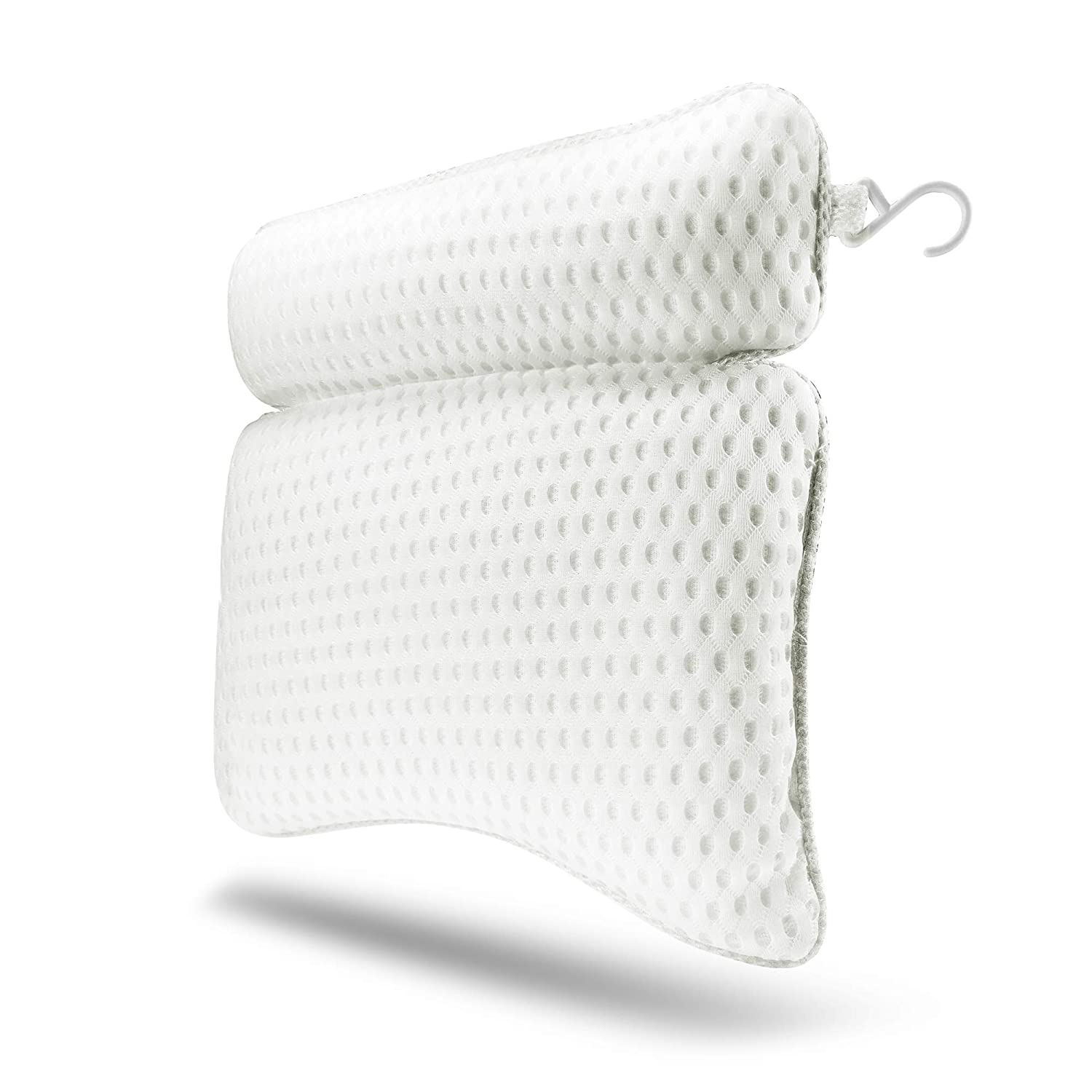 TOPEIUS Spa Bathtub Pillow QuiltedAir Bath Pillow - Quick-Drying Mesh Fabric with Large Suction Cups, Hanging Hook (White)