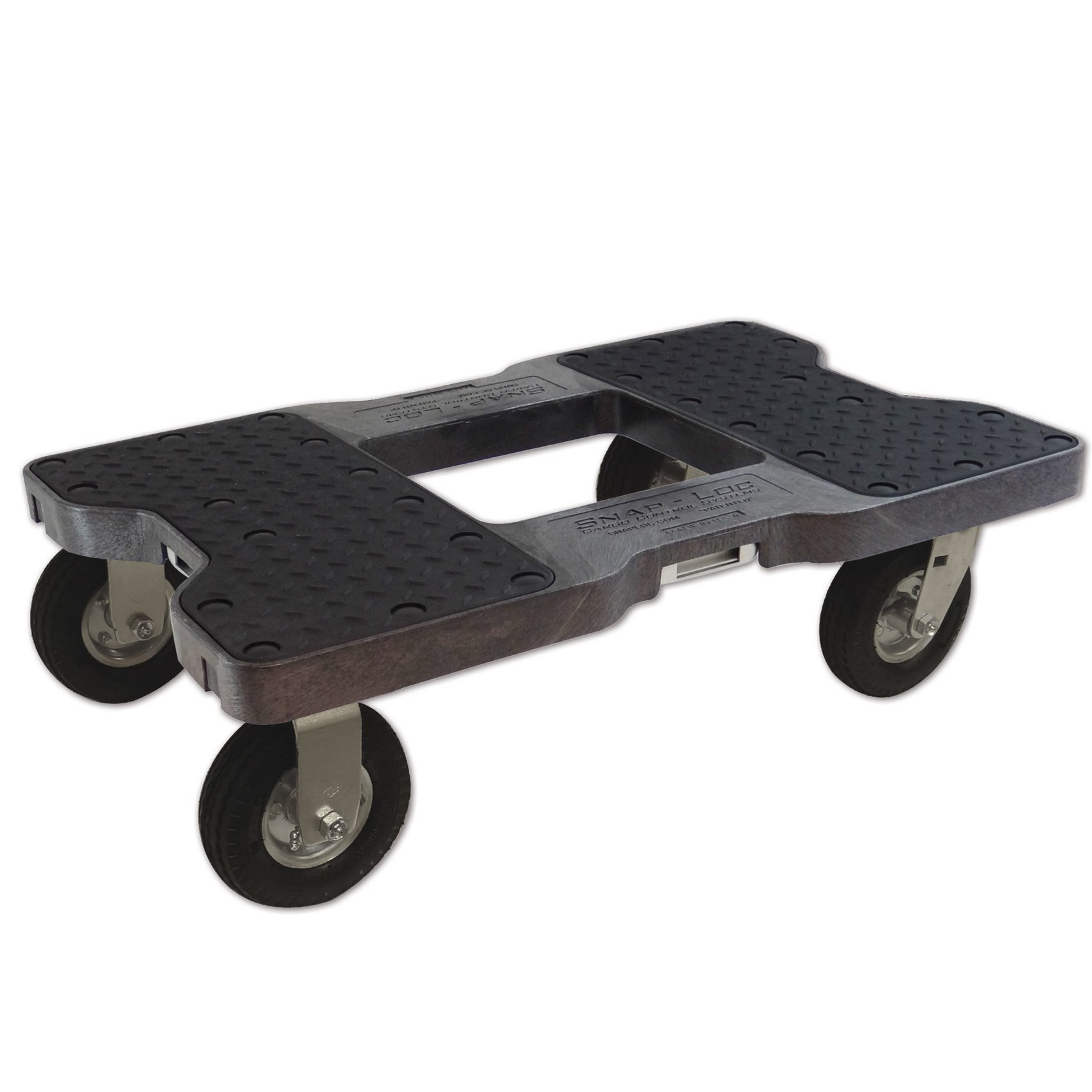 SNAP-LOC AIR-RIDE DOLLY BLACK (USA!) with 1500 lb Capacity, Steel Frame, 6 inch Casters and optional E-Strap Attachment