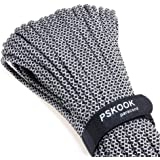 PSKOOK Paracord Survival Fire Parachute Cord with Waxed Flax Tinder Fishing Line and Cotton Thread 25' 100' (Black Diamond, 100)