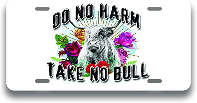 Do No Harm Take No Bull Flowers Printed Vanity Front License Plate Tag KCFP114