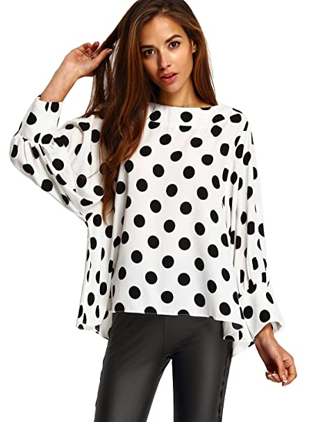 00520414a7 SheIn Women's Boat Neck Polka Dots Batwing Sleeve Loose Top Blouse ...