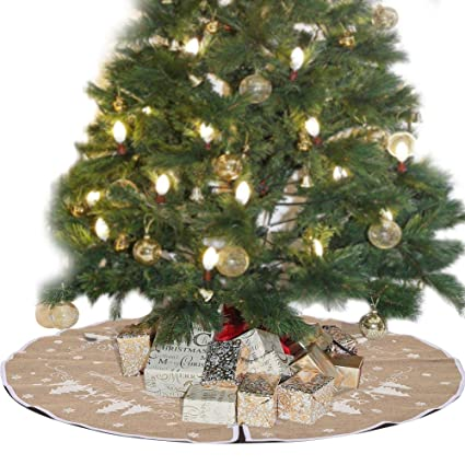 48 inch burlap christmas tree skirt white snowflake printed xmas small tree skirt for new