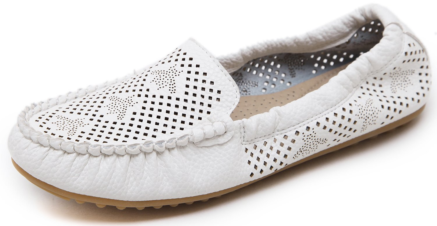 DolphinBanana Women's Autumn Low Top Slip-On Flats Loafers Breathable Fold-Up Shoes, Soft & Comfy Massage Foot Support Insole, White PU Summer Spring