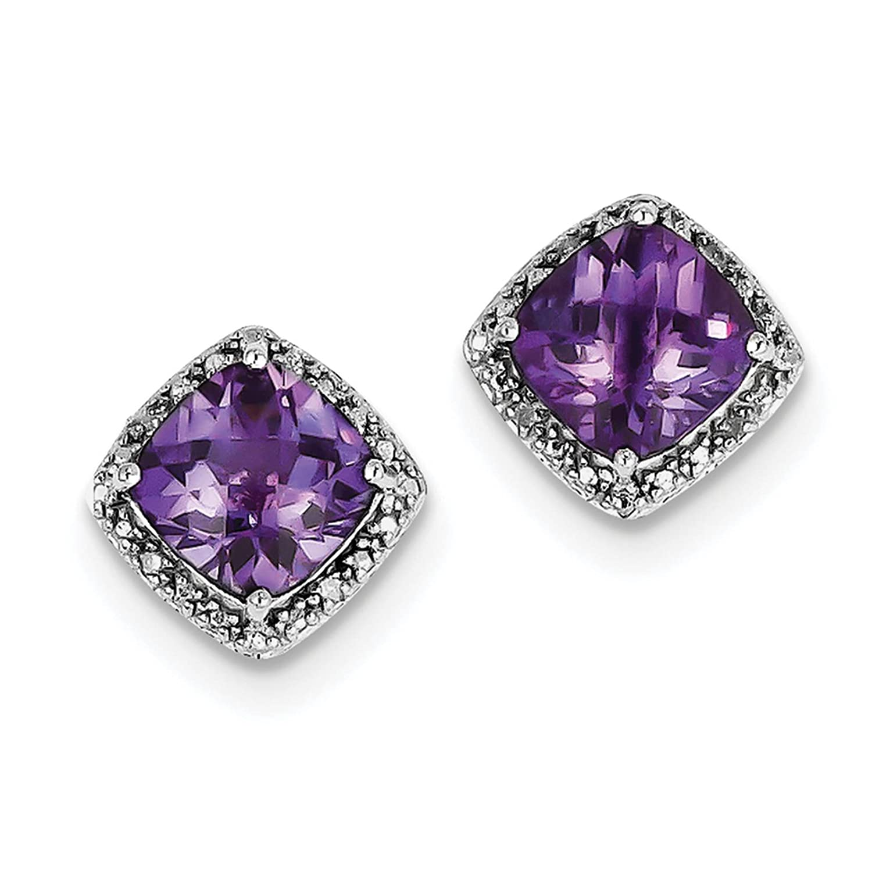 925 Sterling Silver Rhodium-plated Amethyst /& Diamond Post Earrings