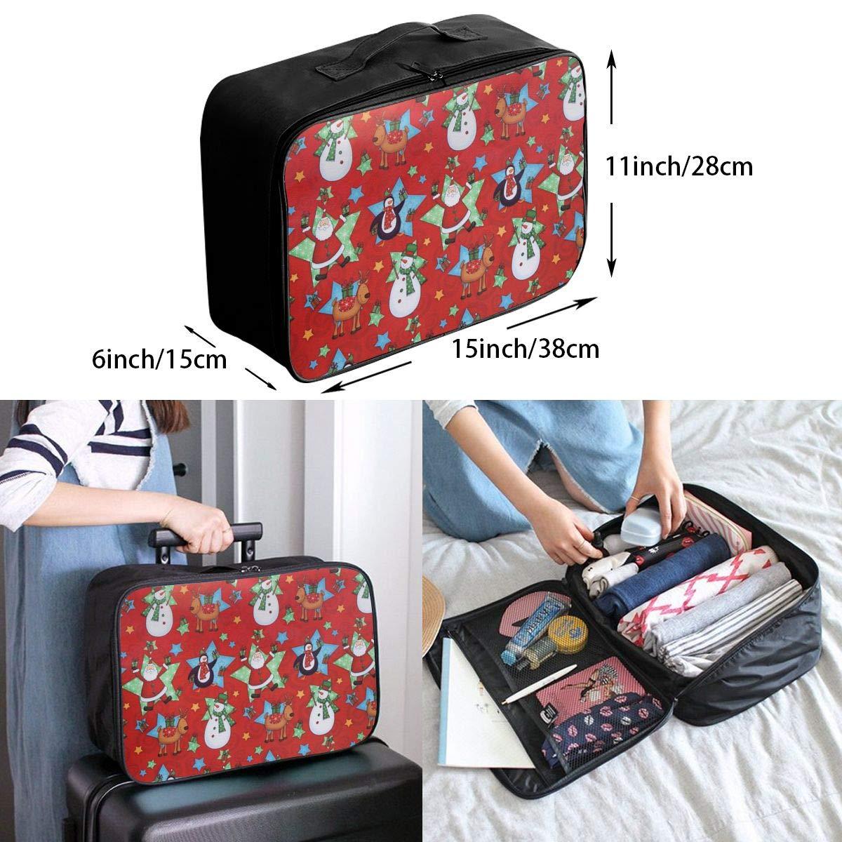 YueLJB Christmas Santa Claus Penguins Lightweight Large Capacity Portable Luggage Bag Travel Duffel Bag Storage Carry Luggage Duffle Tote Bag