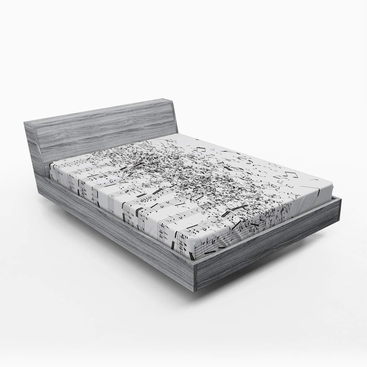 Lunarable Sheet Music Fitted Sheet, Monochrome Dissolving Musical Notes Abstract Pattern Print, Soft Decorative Fabric Bedding All-Round Elastic Pocket, Full Size, Charcoal Grey