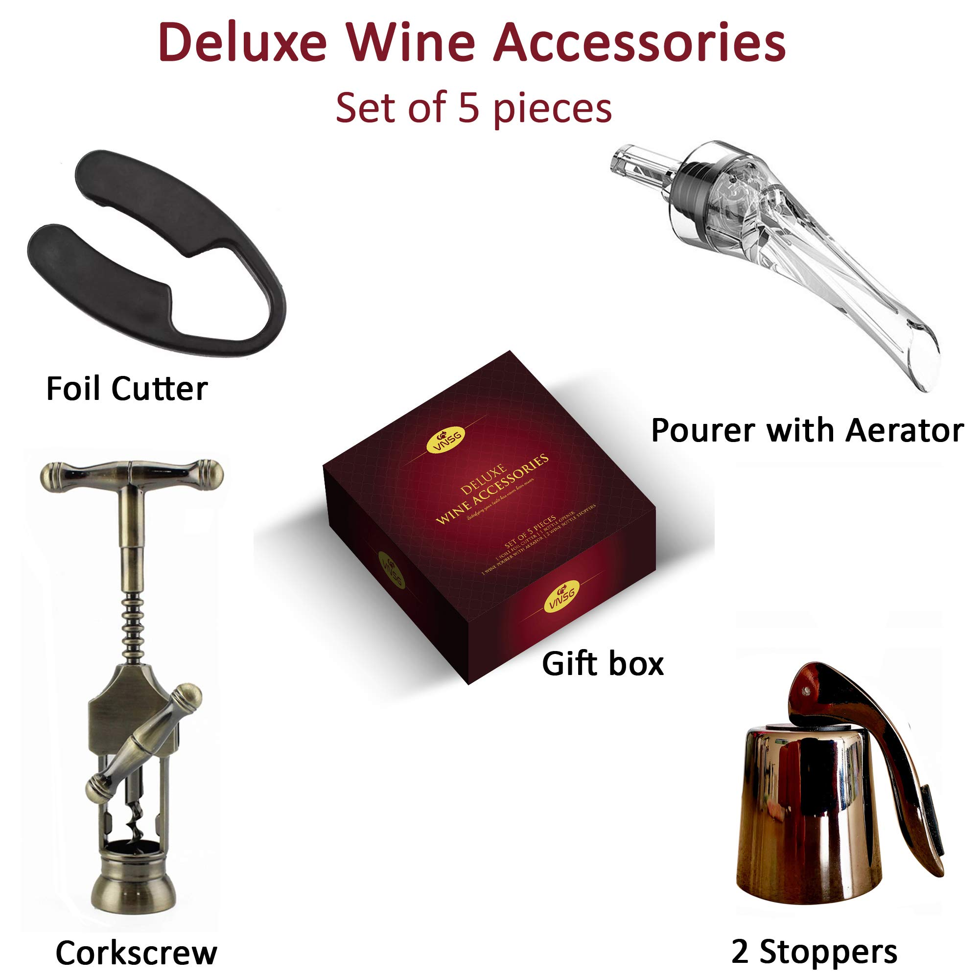 VNSG Deluxe Wine Set┃Wine Accessories┃Set of 5 pieces (Foil Cutter, Wine Bottle Opener/Corkscrew, Wine Aerator, 2 Bottle Stoppers/Wine Preserver)┃Wine Gift Set┃House Warming Presents┃Wine Opener Set