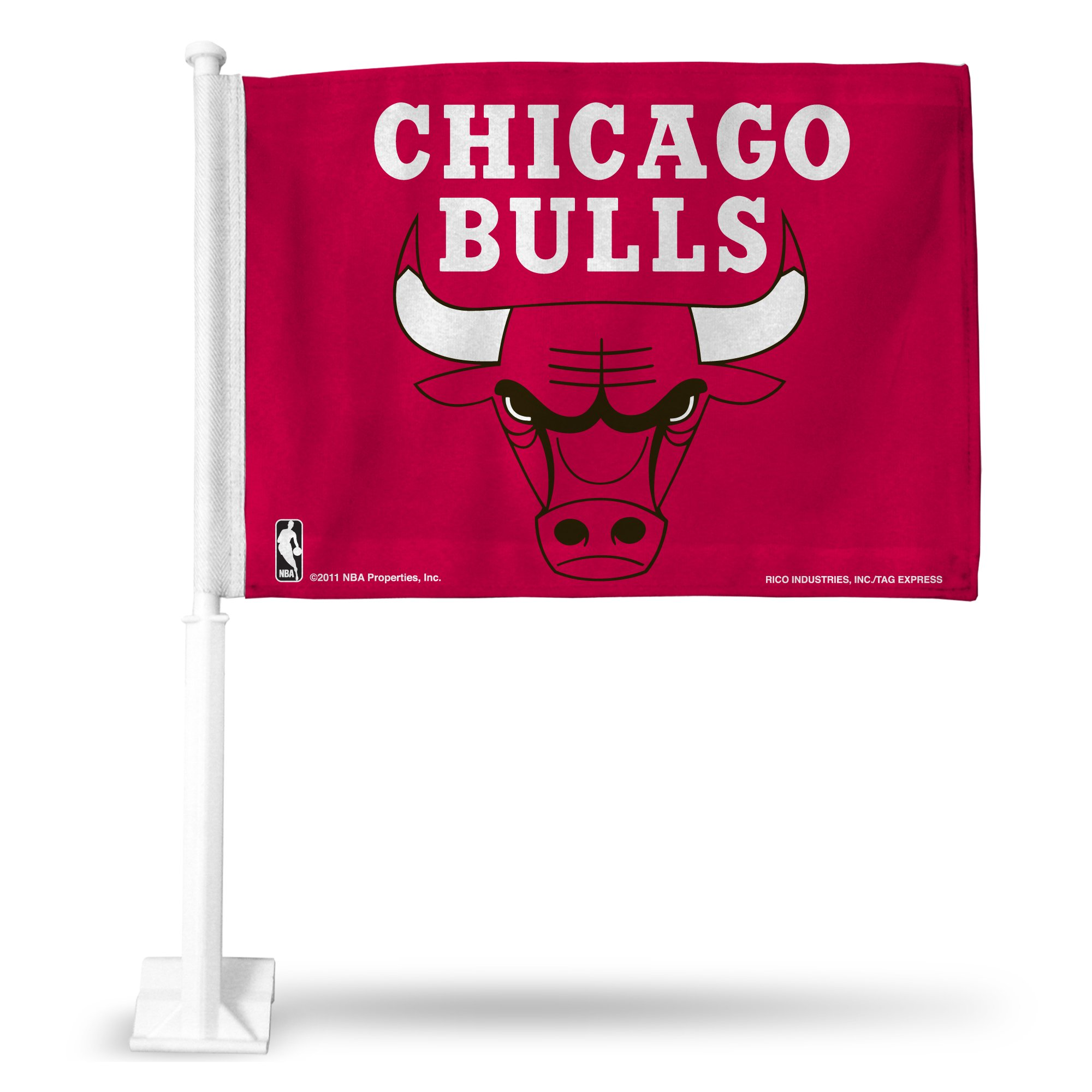 NBA Chicago Bulls Car Flag, Red, with White Pole