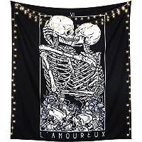 LOMOHOO Skull Tapestry Kissing Lover Black and White Tarot Skeleton Flower Tapestry Wall Hanging Beach Blanket Romantic…