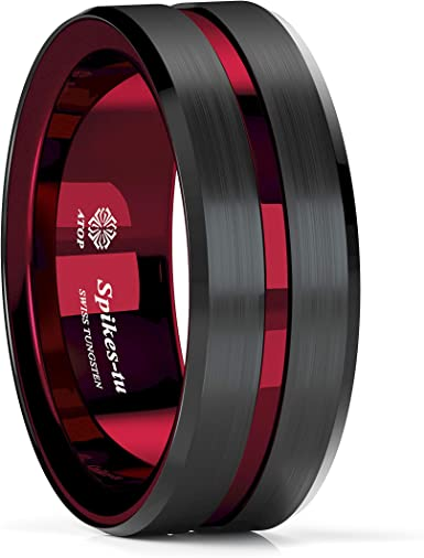 8mm Men/'s Tungsten Brushed Black w// Wine Red Grooved Line Wedding Band Ring