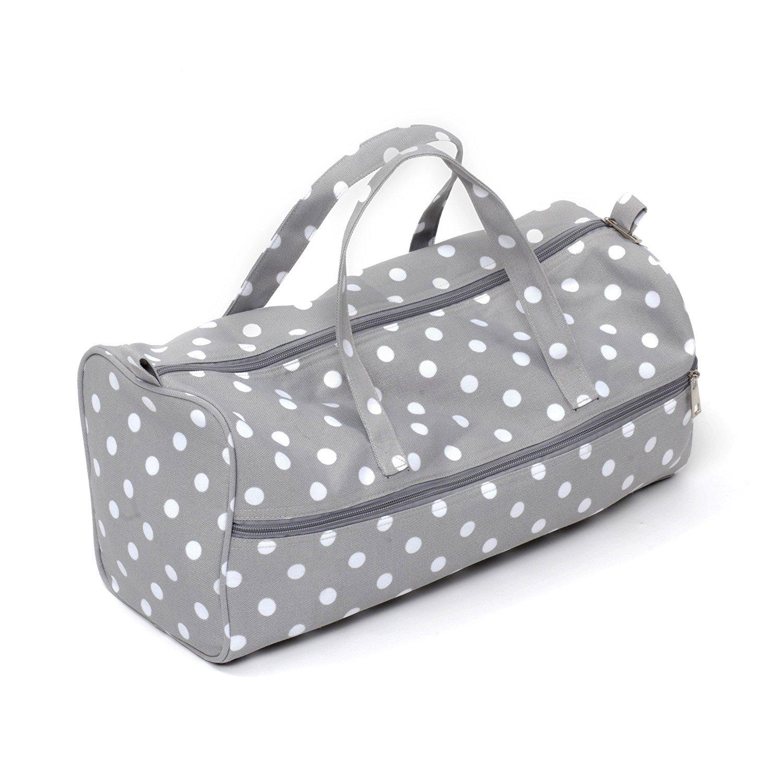 HobbyGift, borsa per lavori a maglia, in misto cotone, colore grigio con pallini MR4698\137