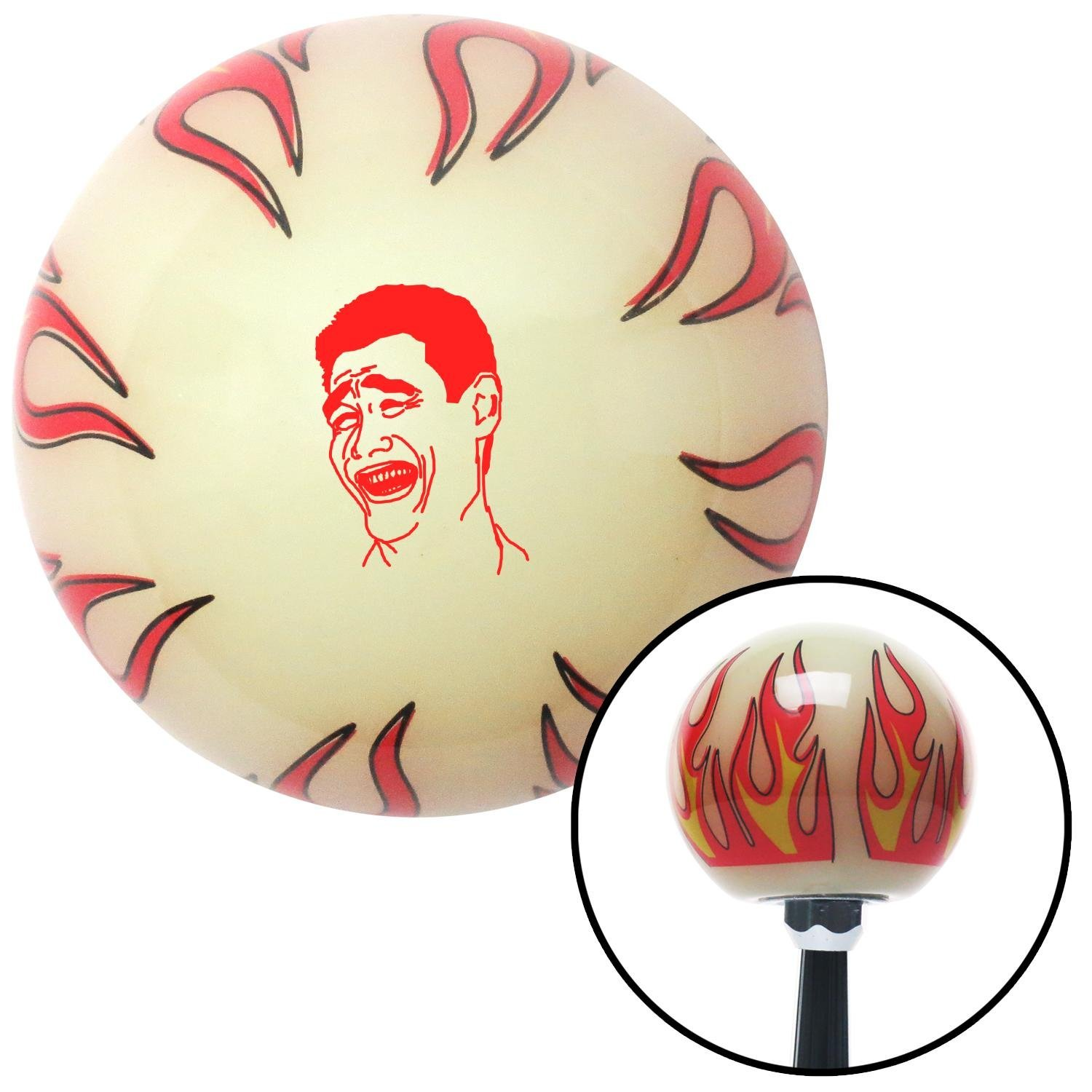 Red Laughing Ivory Flame with M16 x 1.5 Insert American Shifter 292962 Shift Knob