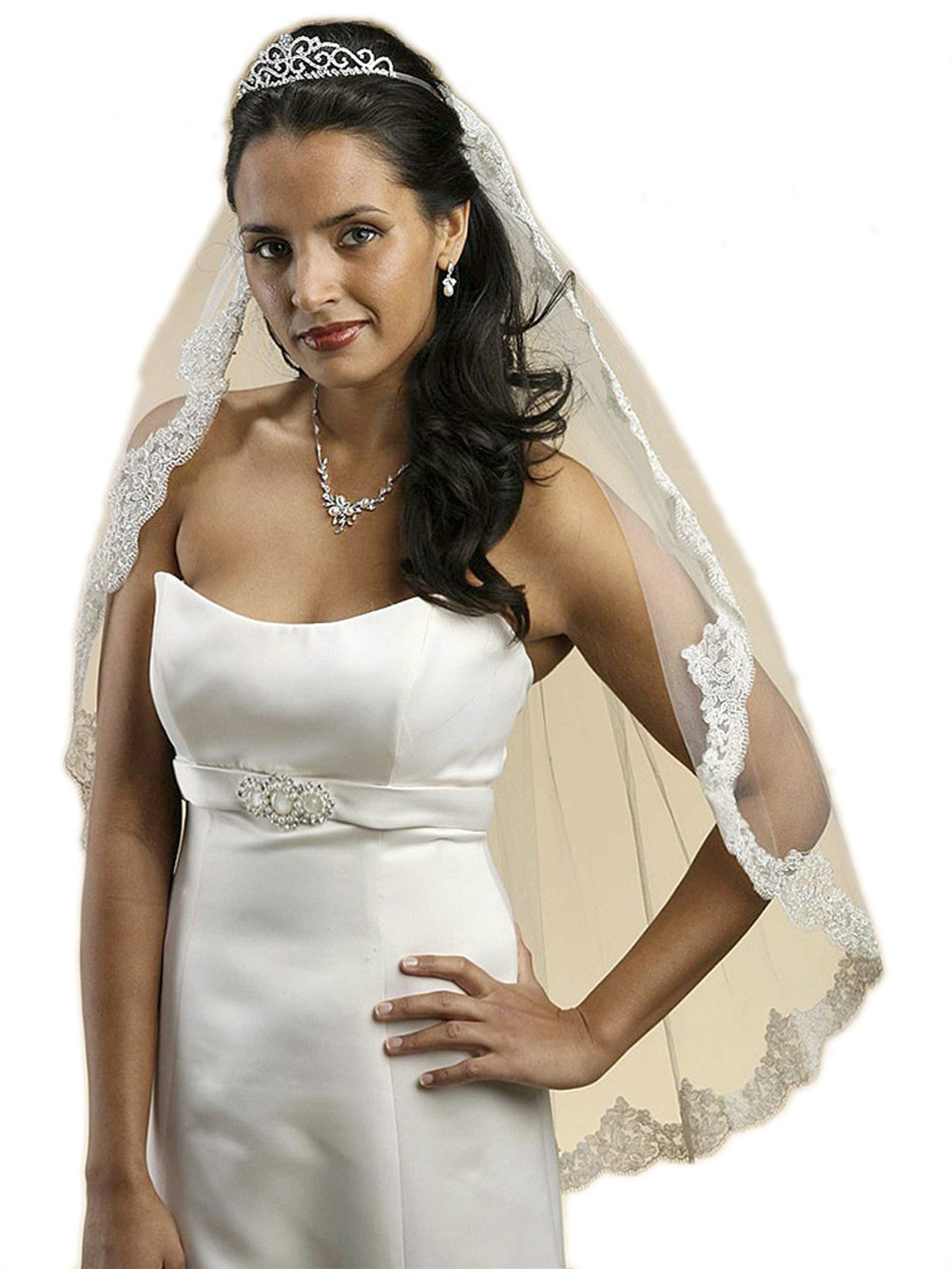 Mariell Women's 109V Beautiful Mantilla Lace Wedding Veil Threaded with Silver Chain - White