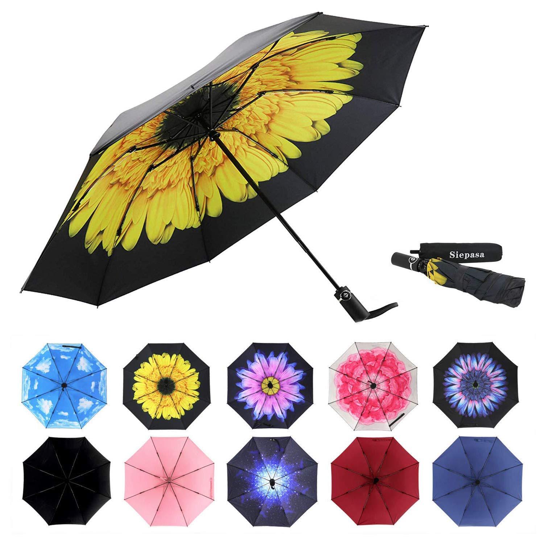 Siepasa Reverse Inverted Compact Light Windproof Travel Outdoor Umbrella -Auto Open Close(Yellow Daisies)
