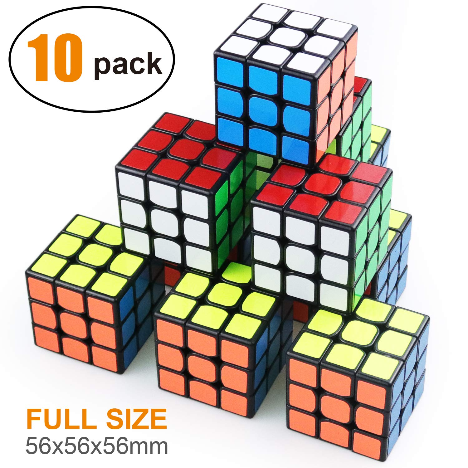 Full Size 3×3 Cube Set,Puzzle Party Toy, Eco-Friendly Material with Vivid Colors,Party Favor School Supplies Puzzle Game Set for Kids and Adults(10 Pack) by AROIC