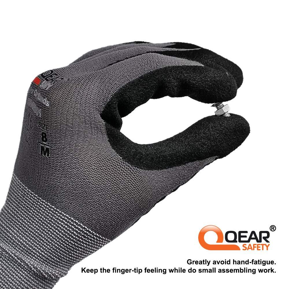 3 pares 2000 Guantes de trabajo de nitrilo de microespuma para uso general gris Small//7 QEAR SAFETY