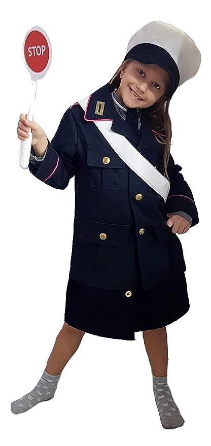 PICCOLI MONELLI Costume Vigile Urbano Bimba 9 - 10 Anni Vestito Poliziotto  di Carnevale con Accessori 4562848b4a84