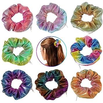 Secret Zipper Pocket Scrunchie Hidden Pouch Hair Tie Soft Velvet Shiney