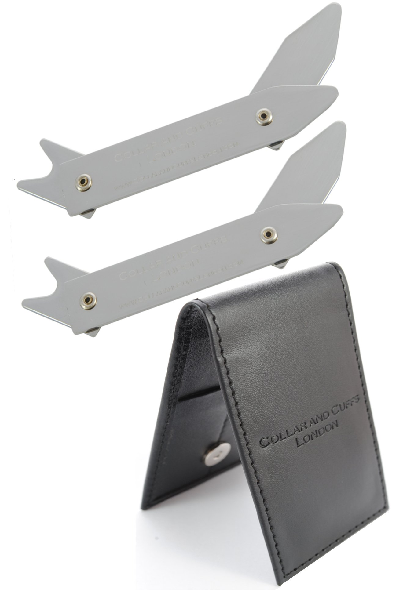 COLLAR AND CUFFS LONDON - ADJUSTABLE MULTI SIZE Metal Shirt Collar Stiffeners - Adjusts to 2'' 2.35'' 2.5'' 2.8'' - Silver Colour - With Presentation Gift Wallet - 1 pair by COLLAR AND CUFFS LONDON