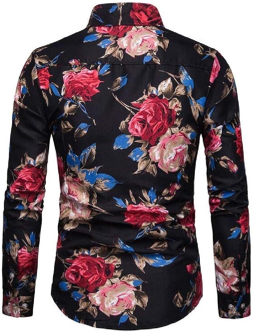 HANA+DORA Mens Business Floral Print Slim Fit Long Sleeve Casual Button Down Shirt