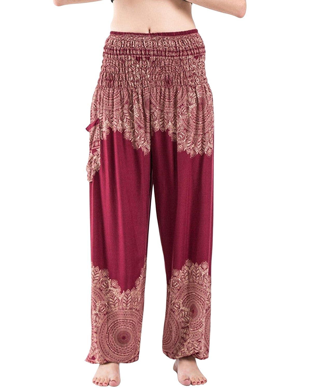 BBYES Women's Smocked Waist Harem Hippie Boho Yoga Palazzo Casual Pants BBYES-0284401@639