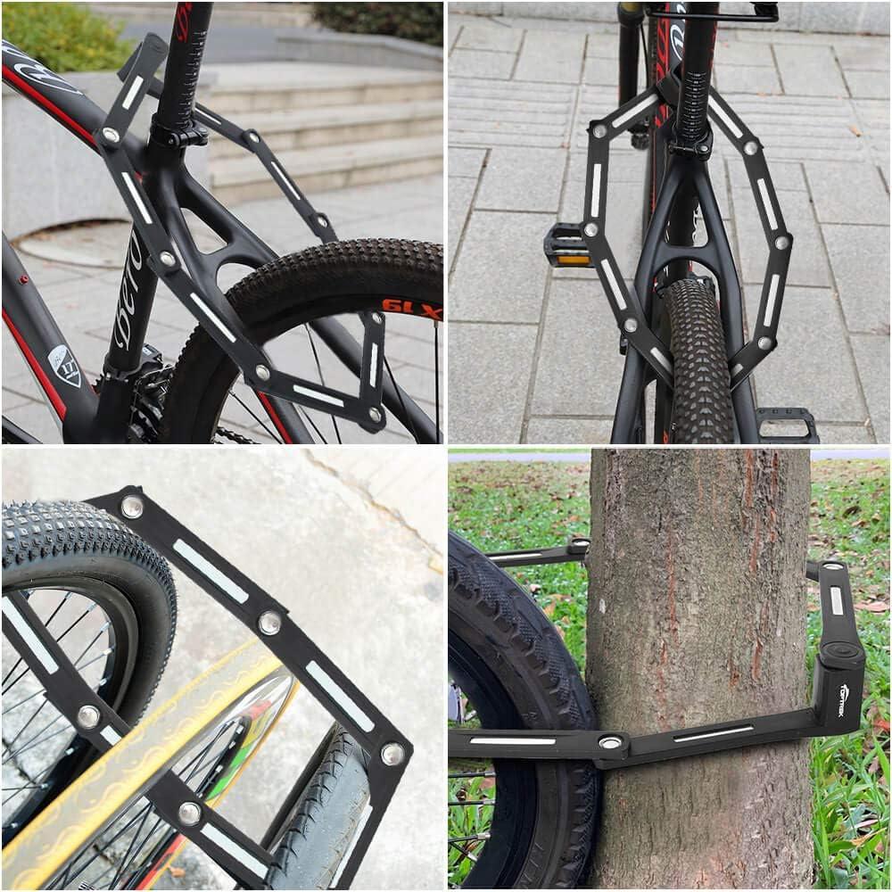 candado plegable para bicicleta toptrek nivel de seguridad de nivel 8 100 cm de largo 8 articulaciones Candado plegable con soporte para bicicleta
