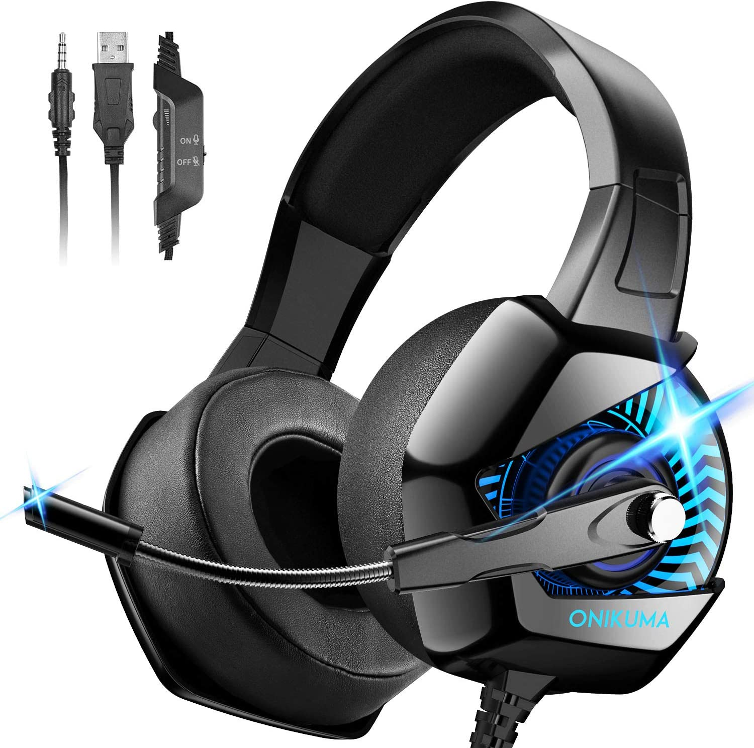 Amazon Com Onikuma Gaming Headset Ps4 Headset With Mic 7 1 Surround Sound Rgb Led Light Gaming Headphones Pc Headset With Noise Canceling For Ps4 Pc Mac Super Nintendo Xbox One Adapter Not Included Computers
