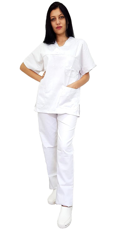 AIESI Divisa Ospedaliera unisex uomo donna in cotone 100/% sanforizzato pantaloni casacca scollo a V Sanitaria Medicale per Medico Infermiere Oss Estetista MADE IN ITALY