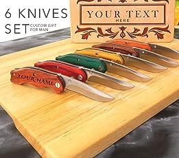 Set 6 Cuchillo, cuchillo personalizado, cuchillo grabado, cuchillo personalizado, cuchillo de bolsillo, regalo de padrino de boda, cuchillo plegable, cuchillos grabados, cuchillos personalizados