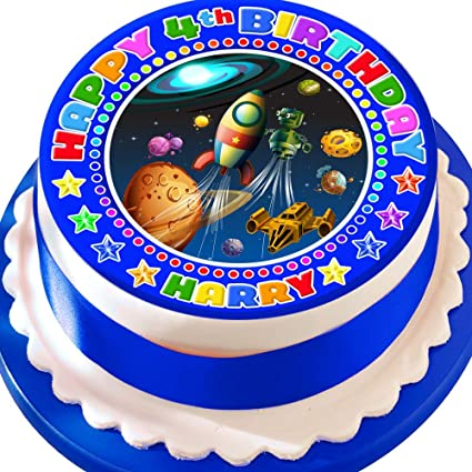 Astounding Space Rocket Planets Happy Birthday Personalised Precut 7 5 Inch Funny Birthday Cards Online Overcheapnameinfo