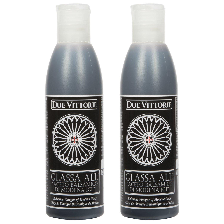 Due Vittorie Italian Balsamic Glaze Crema All Aceto Balsamico Di Modena I.G.P. Gluten Free Balsamic reduction 8.45 oz bottle (2 pack) by Due Vittorie