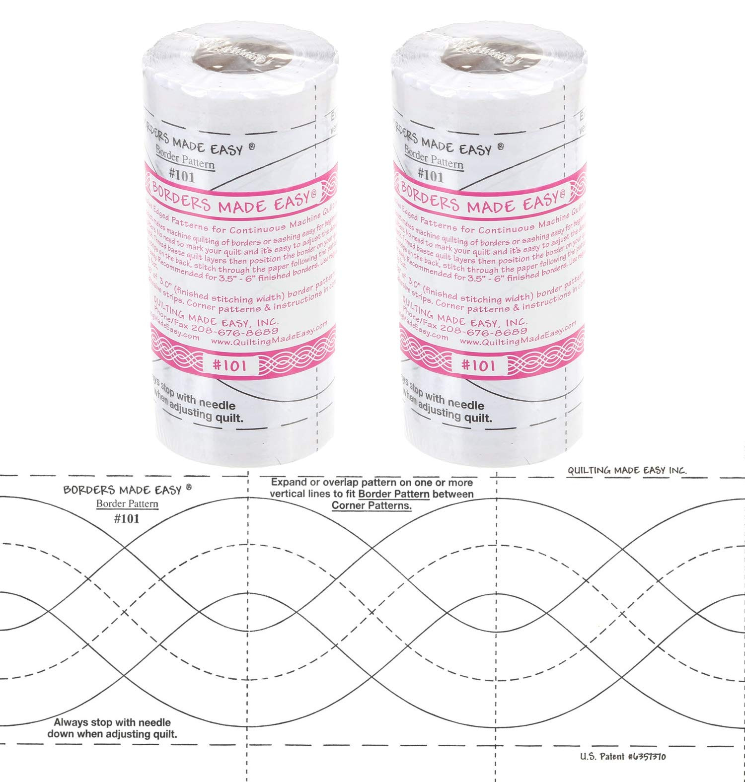 Bundle of 2 Packages of Borders Made Easy Adhesive Backed Patterns for Continuous Machine Quilting, Includes Corners, 26 feet by 1 3/4 inches & 3 inches, Pattern No. 101 by BORDERS MADE EASY
