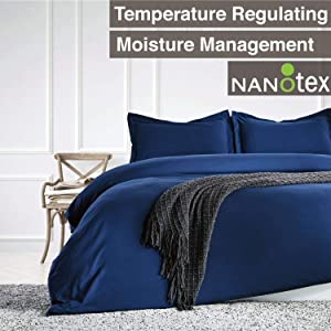 SLEEP ZONE Bedding Duvet Cover Sets Temperature Management 120gsm Ultra Soft Zipper Closure 3 PC, Navy Blue,Full/Queen