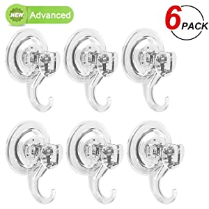 LUXEAR Suction Cup Hooks, Powerful Suction Hooks (6 Pack), Shower Suction Cup Hooks Holder, Heavy Duty Vacuum Suction Hooks, for Bathroom Kitchen Shower Towel Loofah Office Key Bag Coat