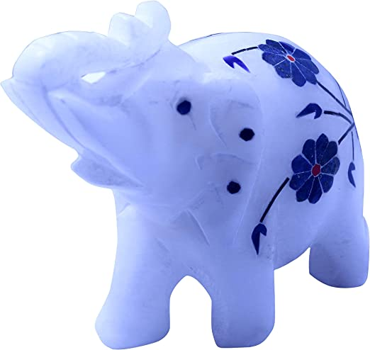 Amazon Com Queenza Elephant Figurine Handmade White Marble Elephant Figurine Elephant Decor Elephant Statue 3 Height Contemporary Elephant Home Decor Precious Inlaid Lapis Lazuli Gemstones Home Kitchen