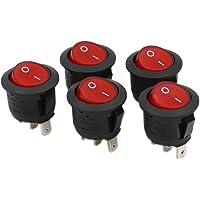 Heschen Rund vippbrytare på/av SPST 3 terminaler rött ljus 10 A 250 VAC 5 pack
