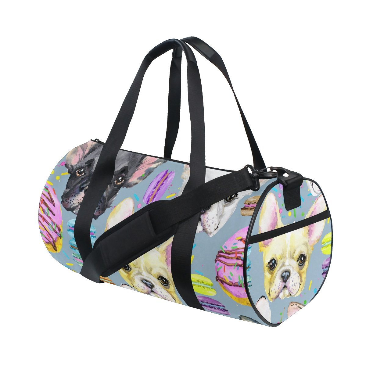 Naanle French Bulldog Puppy Dog Pattern Sweet Dessert Macaron Gym bag Sports Travel Duffle Bags for Men Women Boys Girls Kids