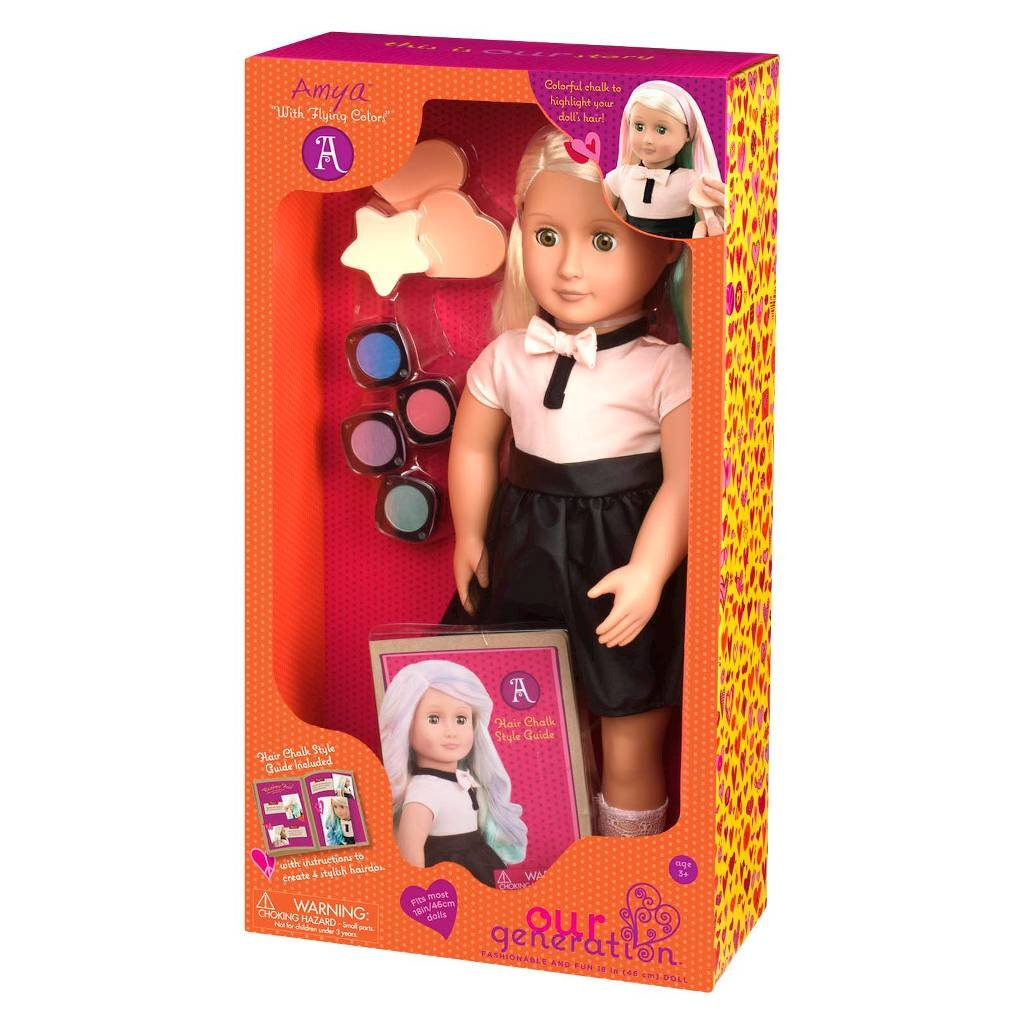 Amazon Our Generation Amya Doll With Chalk Deco Hair 18 Doll