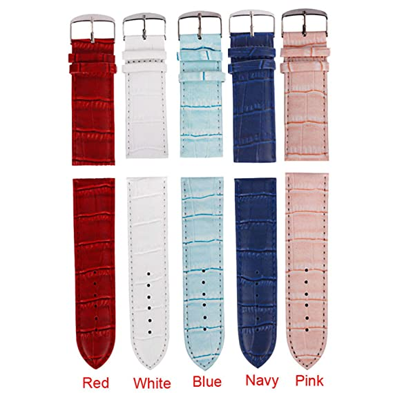 Amazon.com: PU Leather Wristwatch Band Soft Correa De Reloj ...