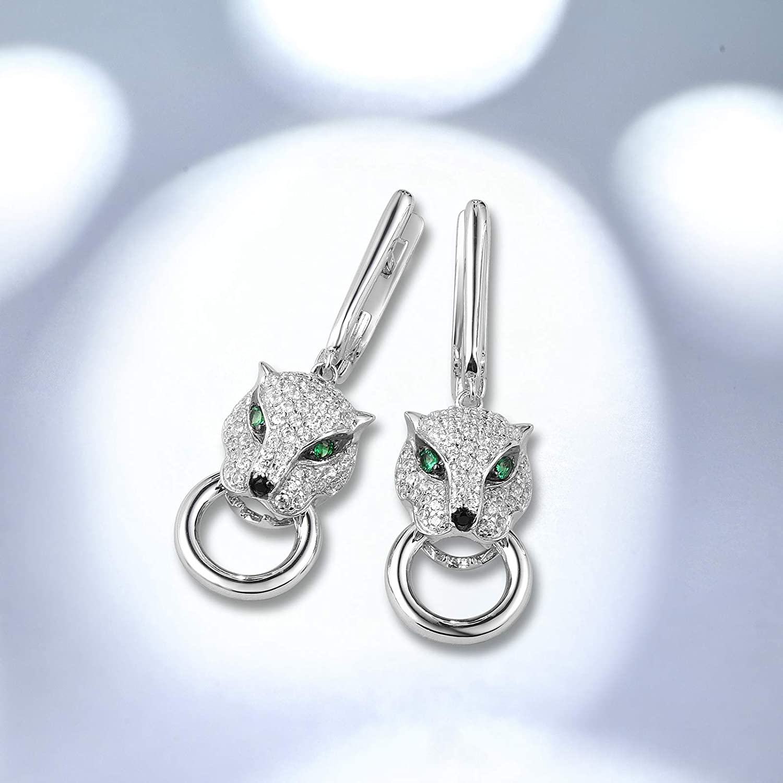 SANTUZZA Handmade Black and white Hoop Earring Sterling Silver w Black White Plating Earrings White Cubic Zirconia E316063WCZSK925