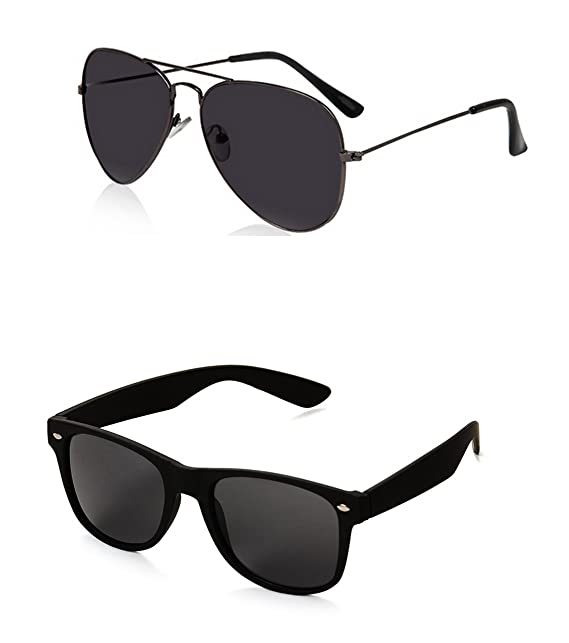 5b999317e4 Generic Men s Aviator and Wayfarer Sunglasses(Black)  Amazon.in ...