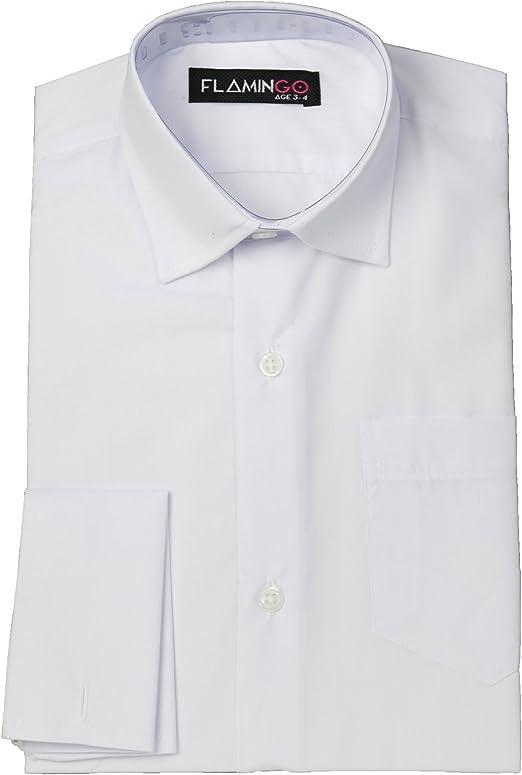 Flamingo Clásico Gemelos Niños Camisas Formales Collar Blanco 15-16 Años: Amazon.es: Ropa y accesorios