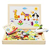 Lewo Wooden Magnetic Double Side Drawing Easel Educational Toys Blackboard Doodle Animals Jigsaw Puzzle Games for Kids Toddlers